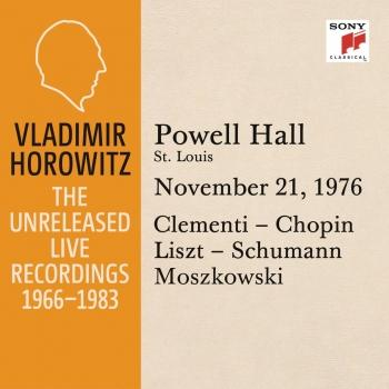 Cover Vladimir Horowitz in Recital at Powell Hall, St. Louis, November 21, 1976