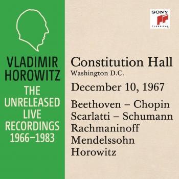 Cover Vladimir Horowitz in Recital at Constitution Hall, Washington D.C., December 10, 1967
