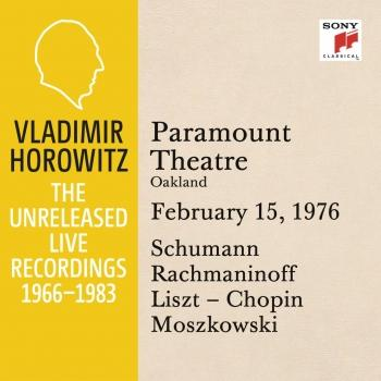 Cover Vladimir Horowitz in Recital at Paramount Theatre, Oakland, February 15, 1976